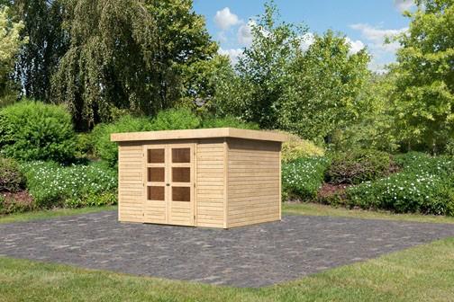 Woodfeeling Holz-Gartenhaus Askola 5 Pultdach 19 mm System - natur