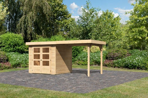 Woodfeeling Holz-Gartenhaus Askola 2 mit Anbaudach 2,4m - 19 mm Schraub-/Stecksystem - naturbelassen