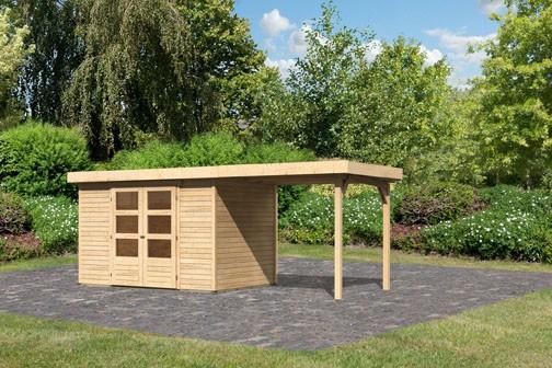 Woodfeeling Holz-Gartenhaus Askola 4 mit Anbaudach 2,4m - 19 mm Schraub-/Stecksystem - naturbelassen
