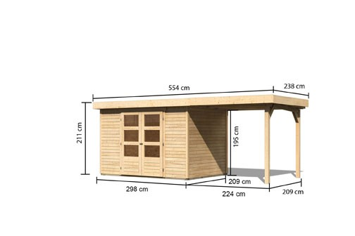 Woodfeeling Holz-Gartenhaus Askola 4 Pultdach 19 mm System inkl. Schleppdach - natur