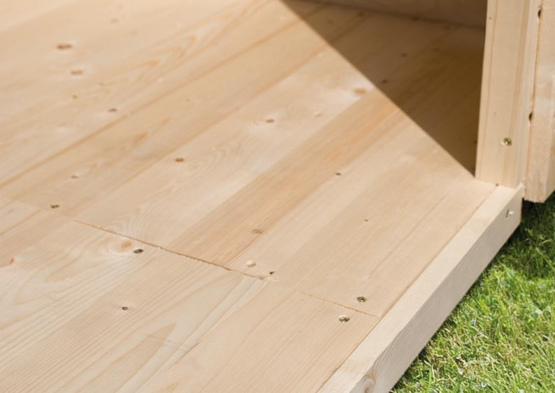 Karibu Woodfeeling Fußboden für Sockelmaß 2,40m x 2,40m Farbe naturbelassen (unbehandelt)