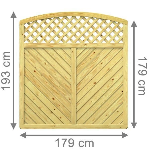 TraumGarten Sichtschutzzaun Nadelholz Gada Rundbogen mit Gitter kdi - 179 x 179 (193) cm