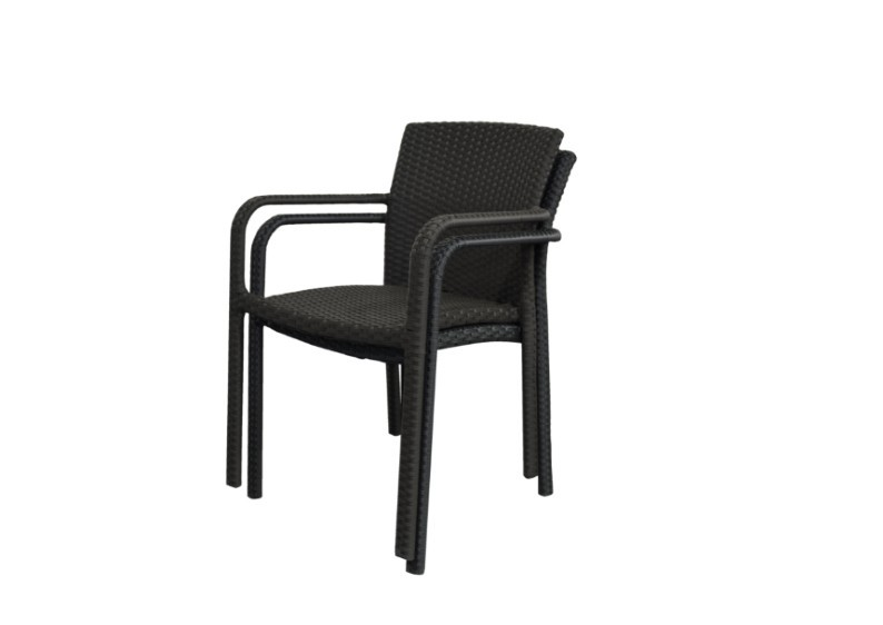 Rattan Stapelsessel Gartenstuhl Malaga - Farbe: schwarz - 1x verfügbar