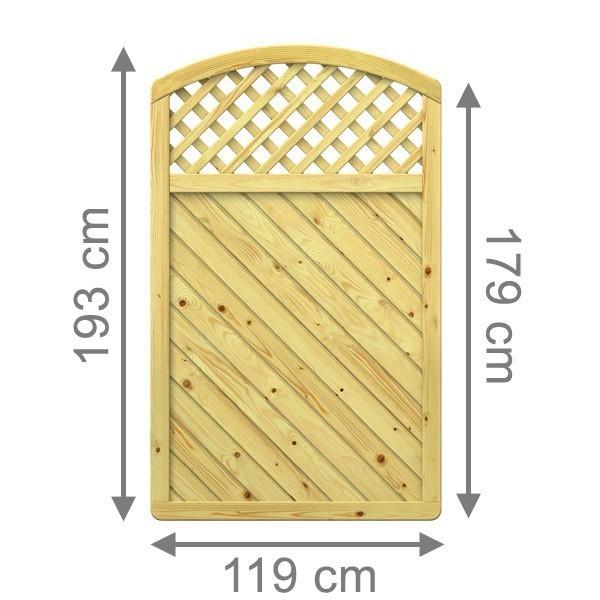 TraumGarten Sichtschutzzaun Holzzaun  Gada Rundbogen mit Gitter kdi - 119 x 179 (193) cm