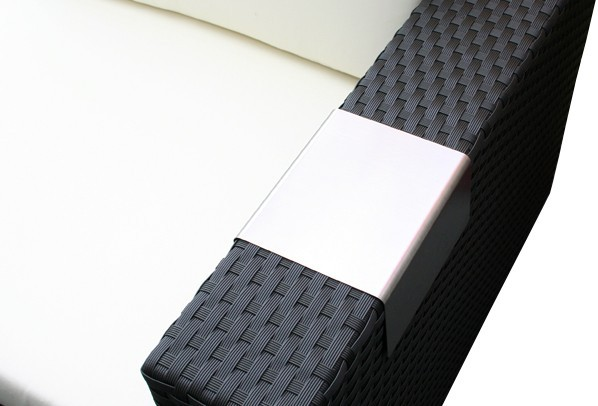 Rattan Loungeelement Turino Ecksofa - Farbe: dunkelgrau/grau