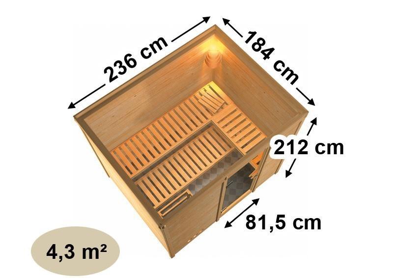 Karibu Heimsauna Sonara (Fronteinstieg) Ofen 9 kW integr. Strg  Kein Kranz 40 mm Massivholzsauna