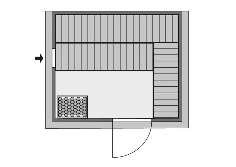 Karibu Heimsauna Sonara (Fronteinstieg) Ofen 9 kW Bio externe Strg easy Kein Kranz 40 mm Massivholzsauna