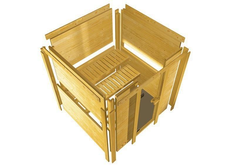 Karibu Heimsauna Sahib 1 (Eckeinstieg) Ofen 9 kW Bio externe Strg easy mit Dachkranz 40 mm Massivholzsauna