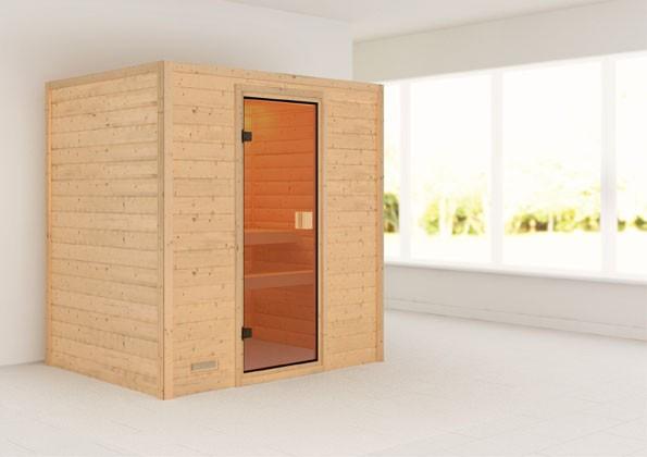Woodfeeling 38 mm Massiv Sauna Sonja Classic (Fronteinstieg) - bronzierte Glastür