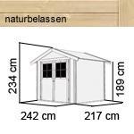 Karibu Holz-Gartenhaus Harburg 4 - 19 mm Schraub- Stecksystem   - naturbelassen