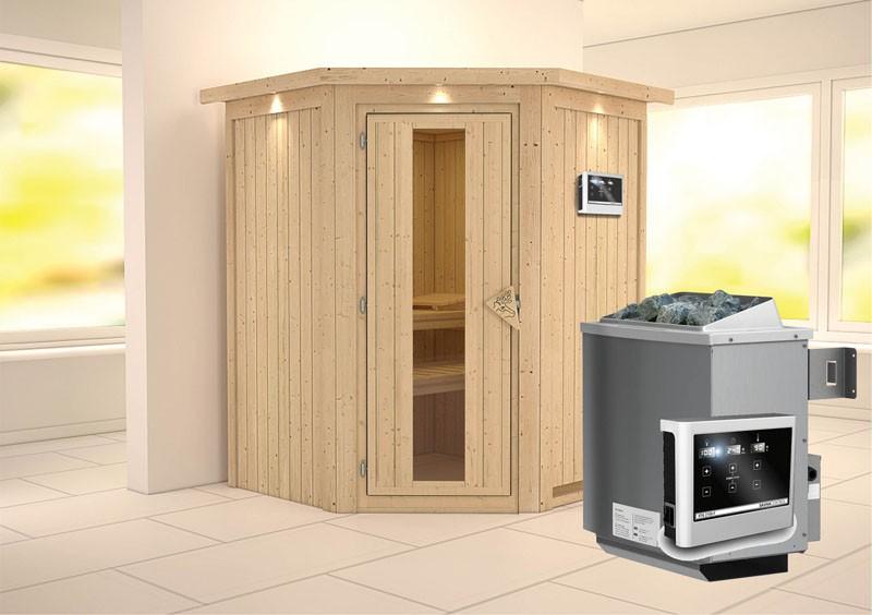 Karibu Heimsauna Larin (Eckeinstieg) Ofen 9 KW externe Strg easy mit Dachkranz 68 mm Systemsauna