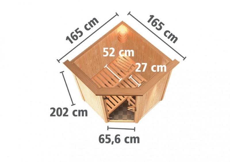Karibu 68mm Systembausauna Larin Fronteinstieg mit Graphit Ganzglastüre - mit Dachkranz