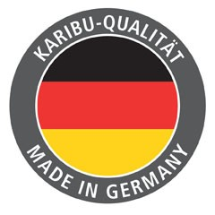 Karibu 68mm Systembausauna Bodin Fronteinstieg mit Graphit Saunatür - mit Dachkranz