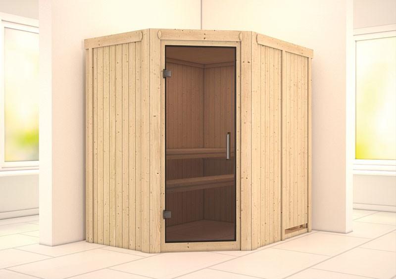 Karibu 68mm Systembausauna Carin Eckeinstieg mit Graphit Sauna-Tür - ohne Dachkranz