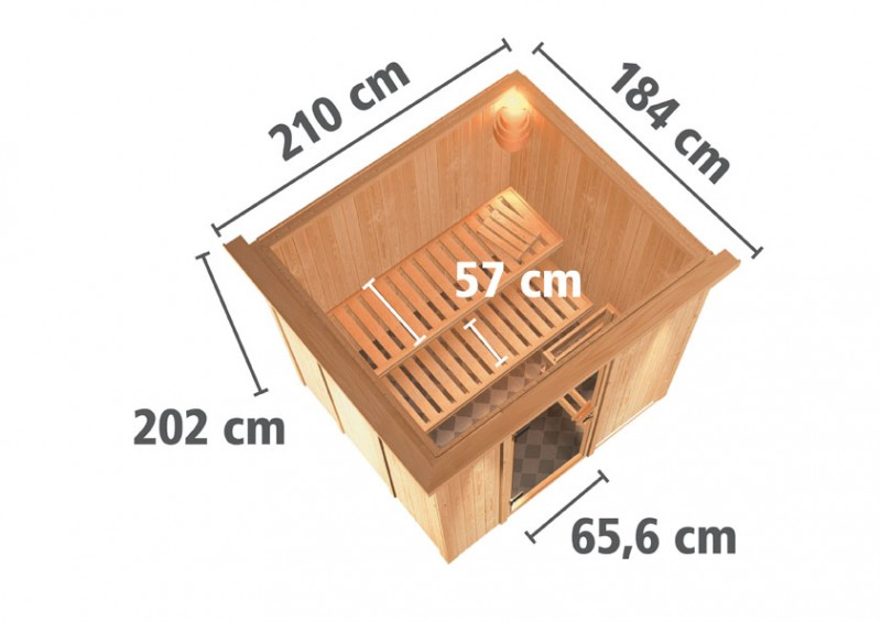 Karibu 68mm Systembausauna Sodin Fronteinstieg mit Energiesparender Tür - mit Dachkranz