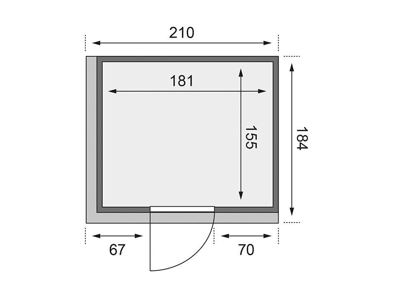 Karibu 68mm Systembausauna Sodin - Fronteinstieg - Ganzglastür graphit - mit Dachkranz