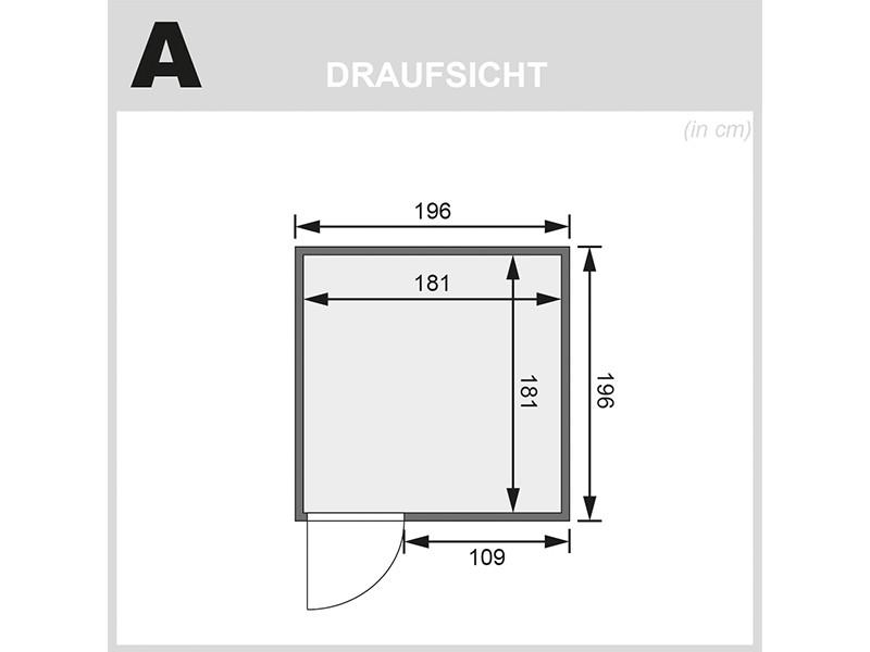 Karibu 68mm Systembausauna Rodin - Fronteinstieg - Ganzglastür graphit - ohne Dachkranz