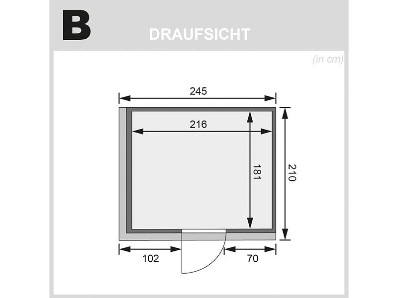 Karibu 68mm Systembausauna Gobin - Fronteinstieg - Ganzglastür graphit - mit Dachkranz - 9kW Bio-Kombiofen mit externer Steuerung Easy bio
