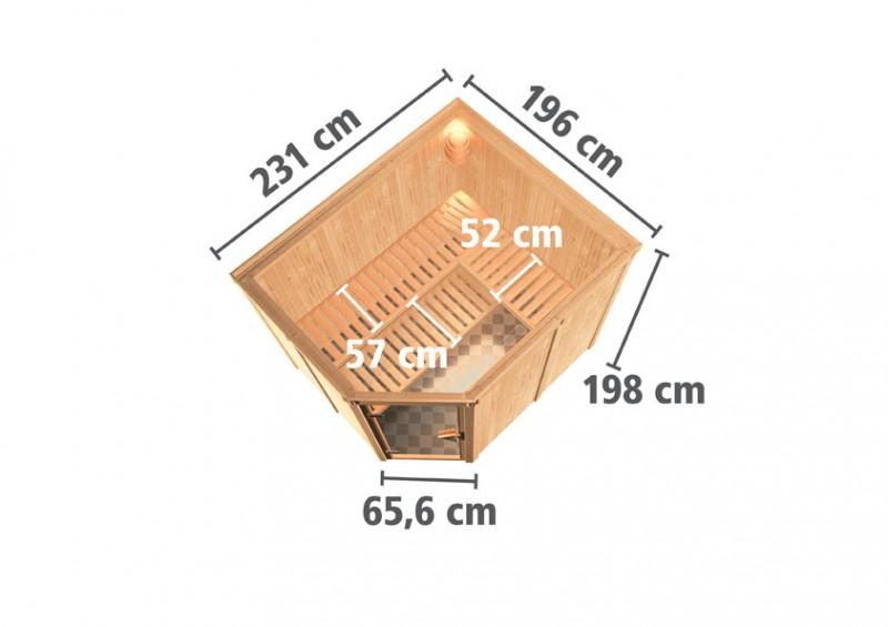 Karibu 68mm Systembausauna Malin Eckeinstieg mit Energiespar Tür - ohne Dachkranz