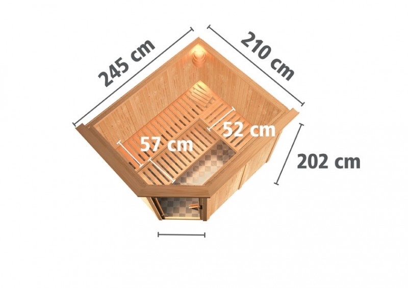 Karibu 68mm Systembausauna Malin Eckeinstieg mit Energiespar Tür - mit Dachkranz