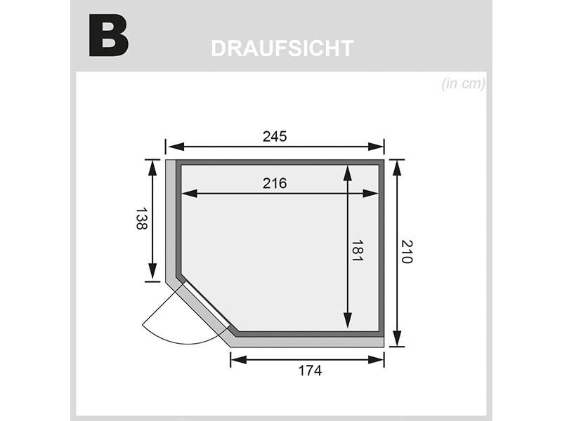 Karibu 68mm Systembausauna Malin - Eckeinstieg - Energiespartür - mit Dachkranz - 9kW Saunaofen mit integr. Steuerung