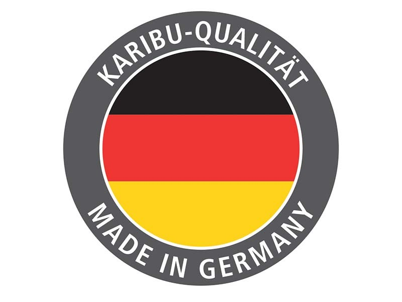 Karibu 68mm Systembausauna Malin - Eckeinstieg - Ganzglastür graphit - mit Dachkranz - 9kW Saunaofen mit externer Steuerung Easy