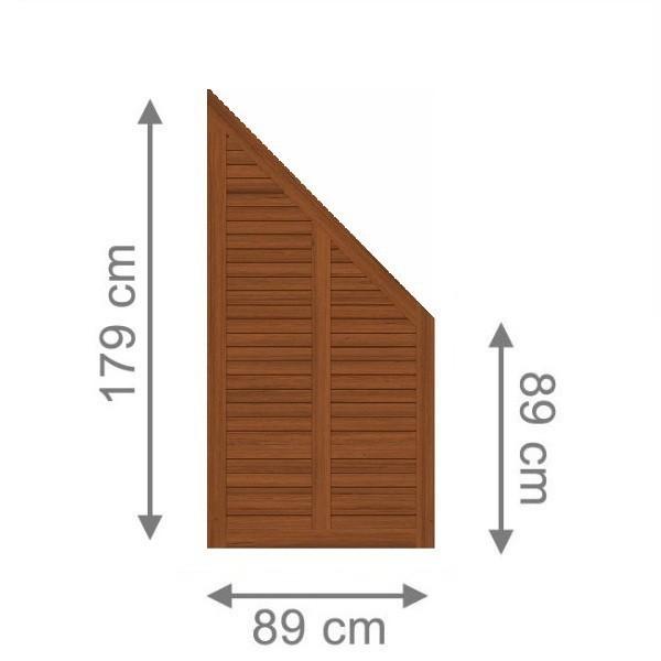 TraumGarten Sichtschutzzaun Holz Grazia Anschluss braun lasiert - 89 x 179 auf 89 cm