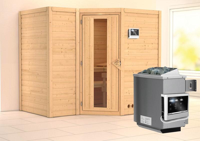 Karibu Heimsauna Sahib 2 (Eckeinstieg) Ofen 9 KW externe Strg easy Kein Kranz 40 mm Massivholzsauna