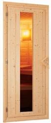 Karibu 40mm Massivholzsauna Sahib 2 Eckeinstieg und Energiespar Tür - mit Dachkranz - inkl. dritter Bankliege