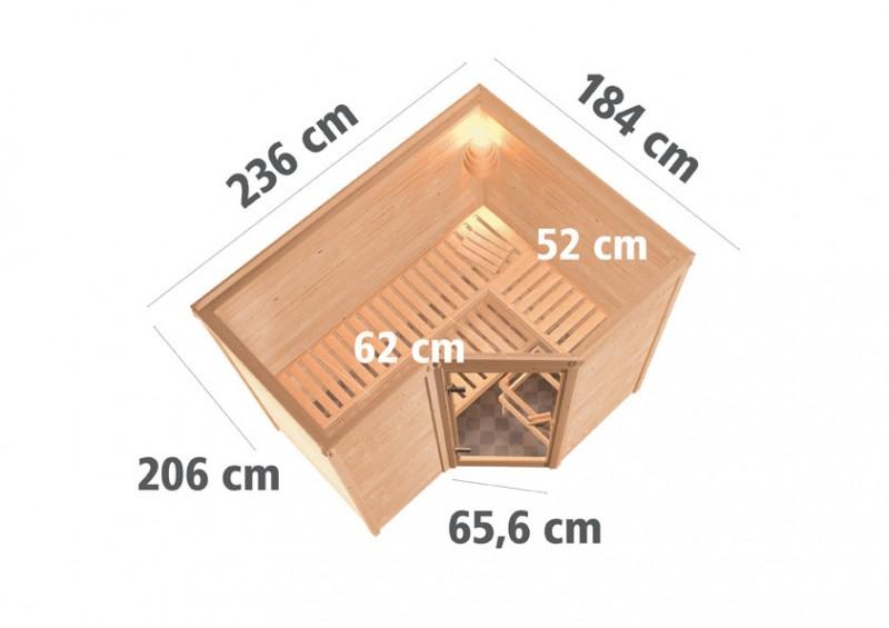 Karibu 40mm Massivholzsauna Sahib 2 Eckeinstieg und Graphit Tür - ohne Dachkranz - inkl. dritter Bankliege