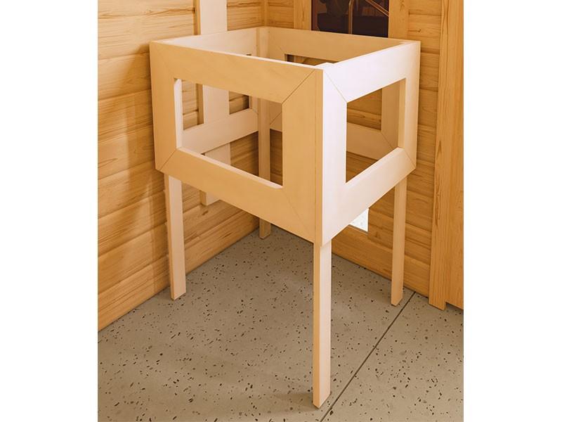 Karibu 40mm Comfort Massivholzsauna Sahib 2 - Eckeinstieg - Ganzglastür graphit - ohne Dachkranz - 9kW Saunaofen mit integr. Steuerung