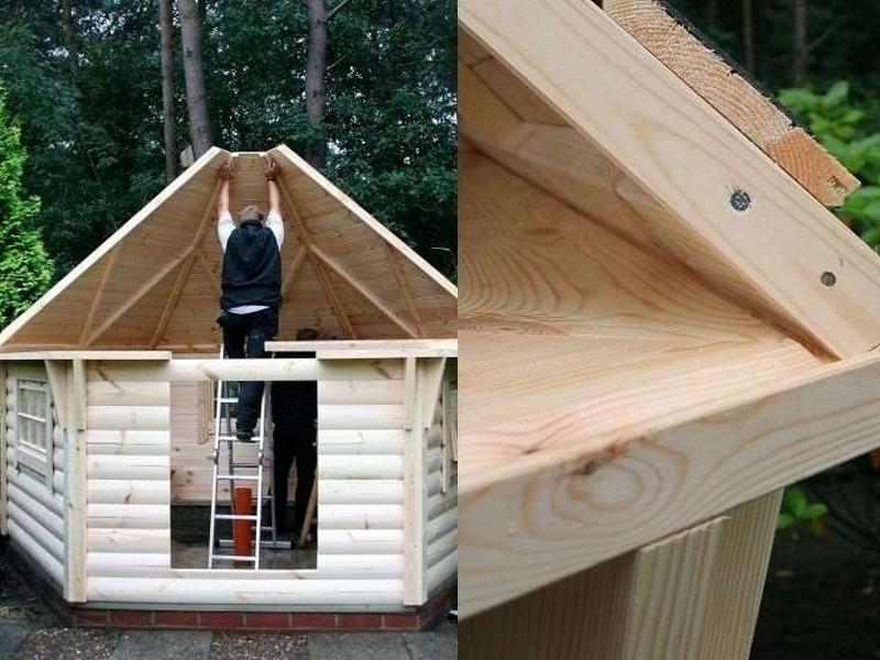 Wolff Finnhaus Grillkota 9 de luxe mit Saunabau inkl. rote Dachschindeln - 376x550 cm