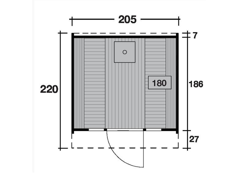 Wolff Finnhaus Saunafass 220 Selbst-Bausatz - inkl. schwarzen Dachschindeln - Gartensauna Ø205 x 220 cm