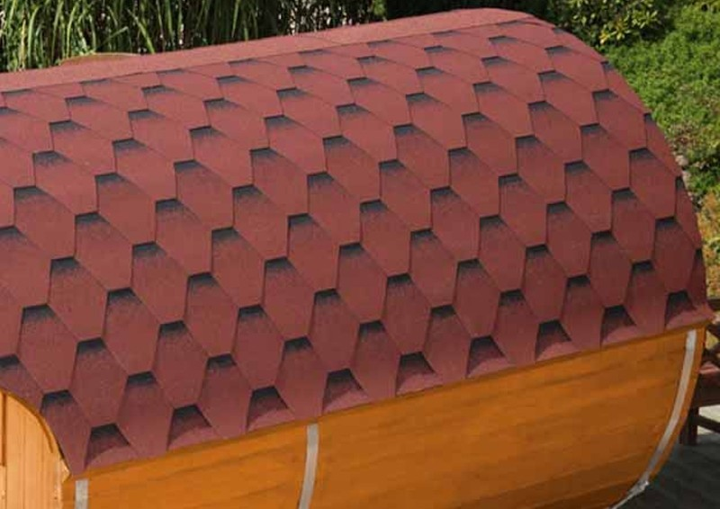 Wolff Finnhaus Saunafass 250 vormontiert - inkl. roten Dachschindeln - Gartensauna Ø200 x 250 cm