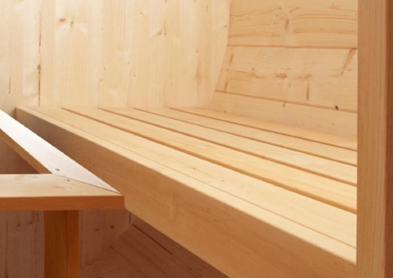 Wolff Finnhaus Saunafass 400 de luxe vormontiert- Fichte inkl. Schindeln ohne Ofen - Maße: Ø235 x 400 cm