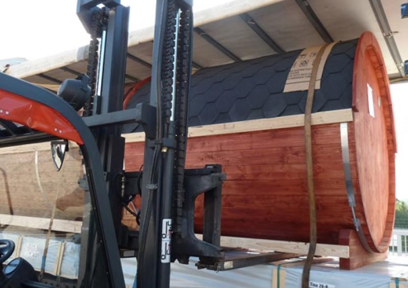 Wolff Finnhaus Saunafass 400 vormontiert - inkl. schwarzen Dachschindeln - Gartensauna Ø200 x 400 cm