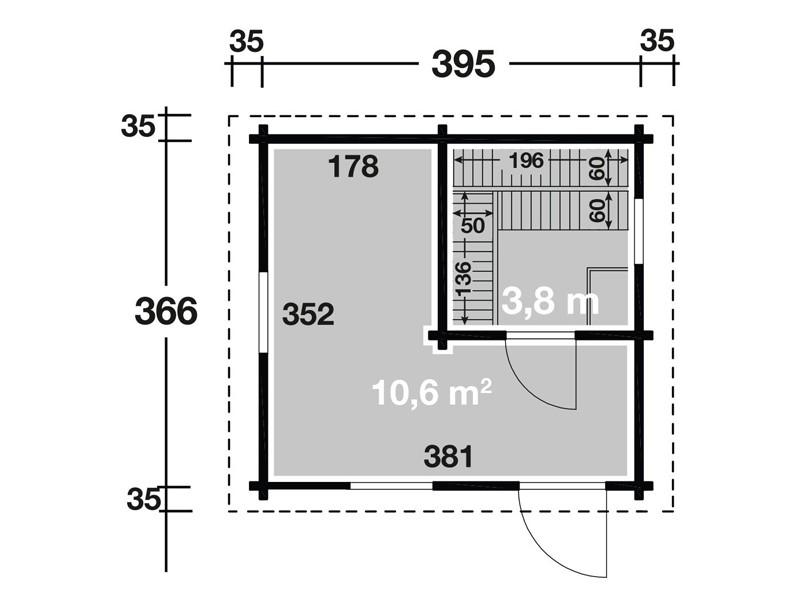 Wolff Finnhaus Saunahaus de luxe Keijo 70 - Halbglastür - mit Vorraum
