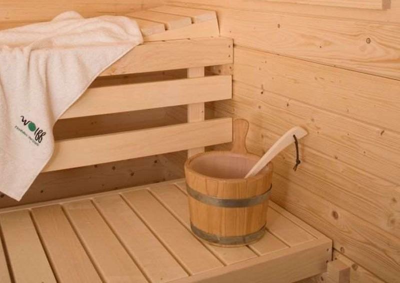Wolff Finnhaus Gartensauna Saunahaus Lenja 40 Pultdach-Sauna-Haus - 40 mm Massivholz - naturbelassen