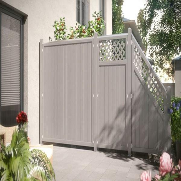 TraumGarten Sichtschutzzaun Kunststoff Longlife Riva Rechteck mit Gitter grau - 90 x 180 cm