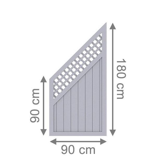 TraumGarten Sichtschutzzaun Longlife Riva Anschluss mit Gitter grau - 90 x 180 auf 90 cm
