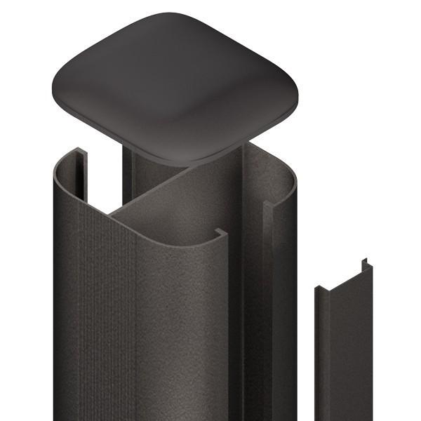 TraumGarten Zaunpfosten System Steckpfosten Set anthrazit zum Erdverbau - 7 x 7 x 240 cm