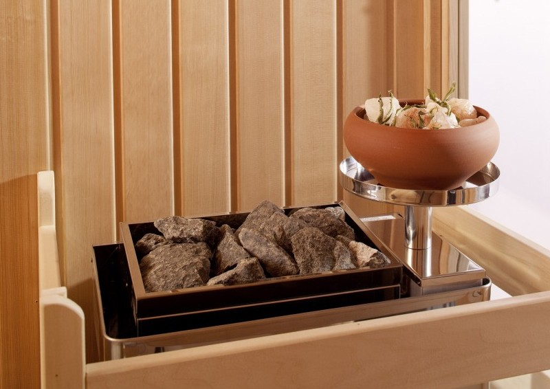Infraworld Sauna Optima mit Sole-Therme Zirbenholz 75 mm Elementbau von Länge 142 - 151 cm Breite 168 - 202 cm