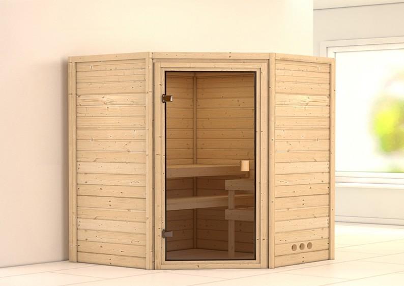 Woodfeeling 38 mm Massiv Sauna Franka Modern (Eckeinstieg)