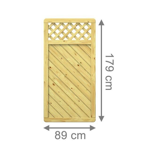 TraumGarten Sichtschutzzaun Holzzaun Gada Rechteck mit Gitter kdi - 89 x 179 cm