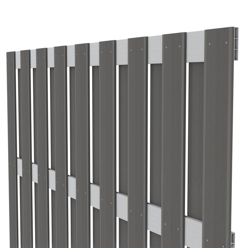 TraumGarten Sichtschutzzaun Jumbo WPC Aluminium-Design Rechteck anthrazit 179 x 179 cm