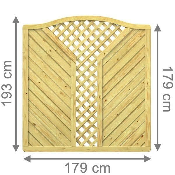 TraumGarten Sichtschutzzaun Holzzaun Gada Krone mit V-Gitter kdi - 179 x 179 (193) cm