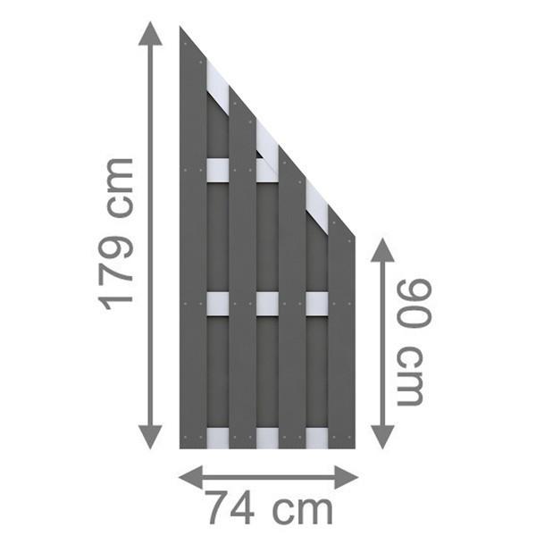 TraumGarten Sichtschutzzaun Jumbo WPC Alu-Design Anschluss anthrazit - 74 x 179 auf 90 cm