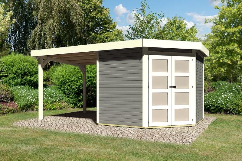 Karibu Holz-Gartenhaus Goldendorf 5  im Set mit Anbaudach  2,20 m Breit - 19 mm Flachdach Schraub- Stecksystem - terragrau