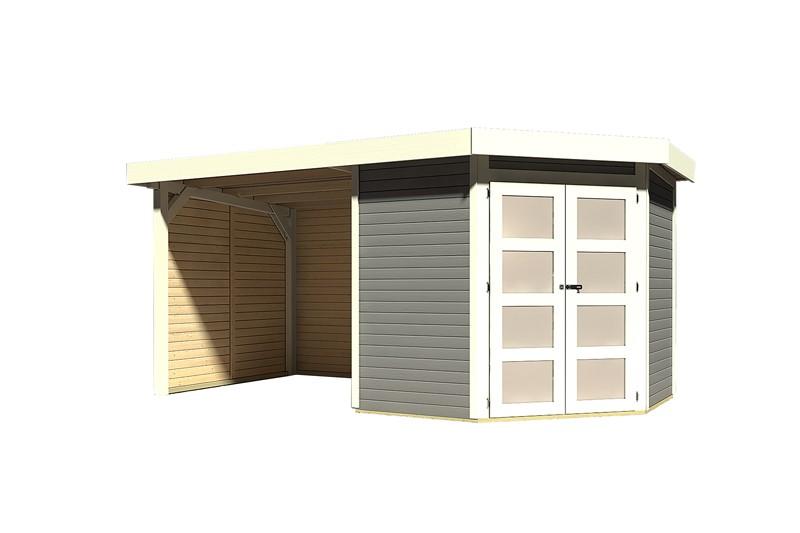 Karibu Holz-Gartenhaus Goldendorf 3  im Set mit Anbaudach  2,20 m Breit und 19 mm Seiten- und Rückwand - 19 mm Flachdach Schraub- Stecksystem - terragrau