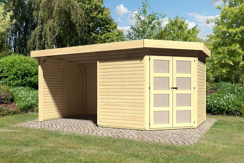Karibu Holz-Gartenhaus Goldendorf 5  im Set mit Anbaudach  2,20 m Breit und 19 mm Seiten- und Rückwand - 19 mm Flachdach Schraub- Stecksystem - naturbelassen